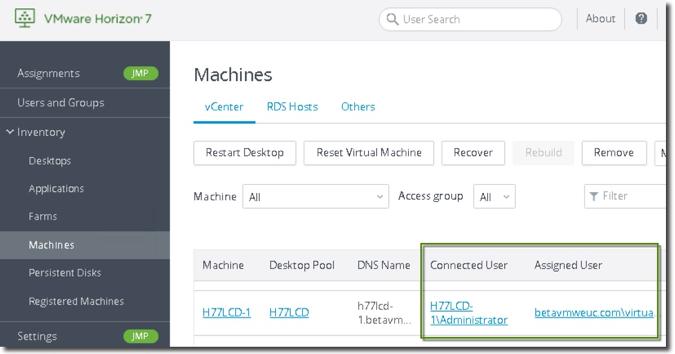 ستون Connected User و ستون Assigned User در VMware Horizon 7.7