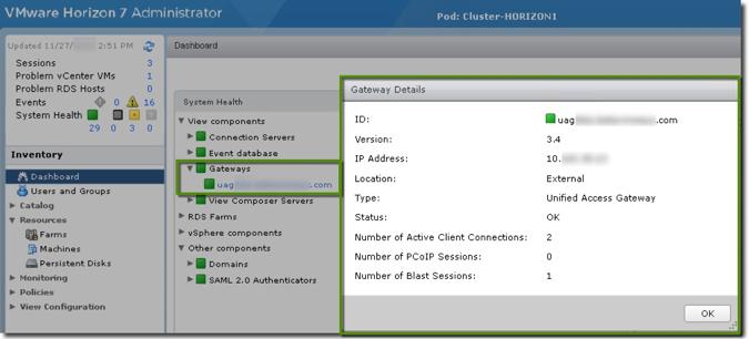 داشبورد System health در VMware Horizon 7.7
